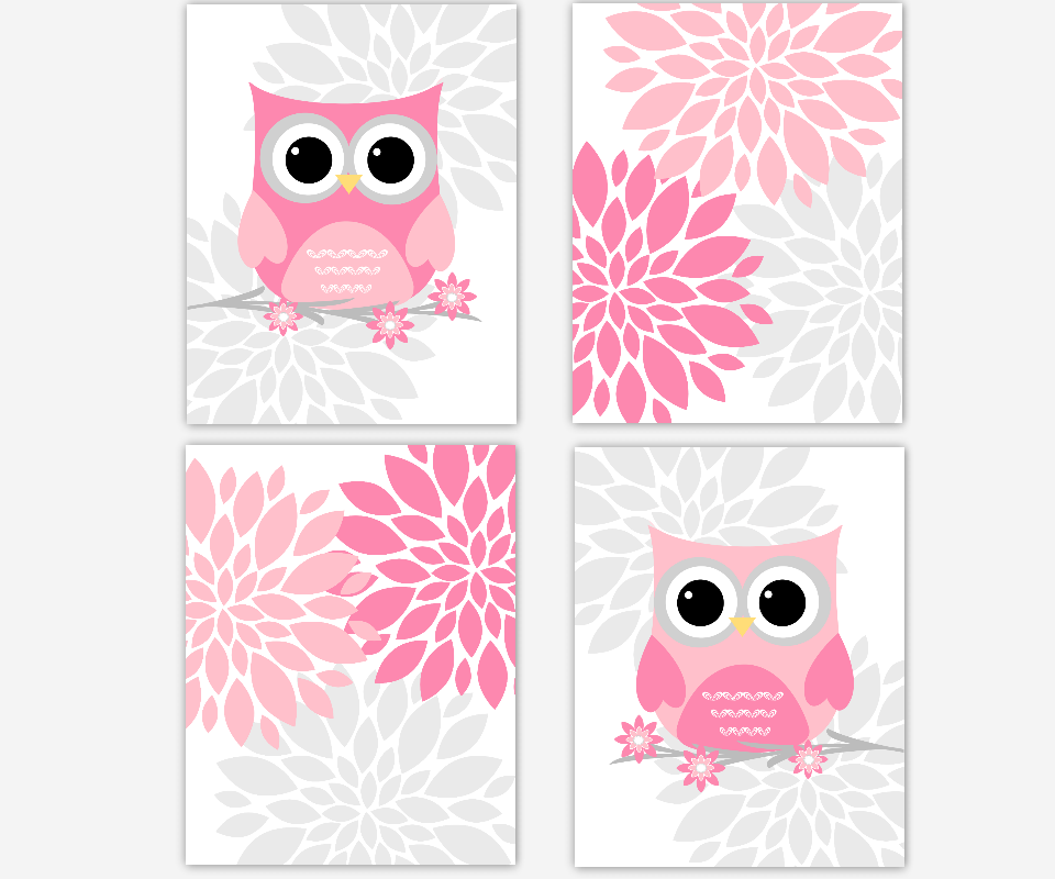 Grey Eggplant Purple Flower Burst Dahlia Bloom Artwork Set: Pink And Gray Owl PNG Transparent Pink And Gray Owl.PNG