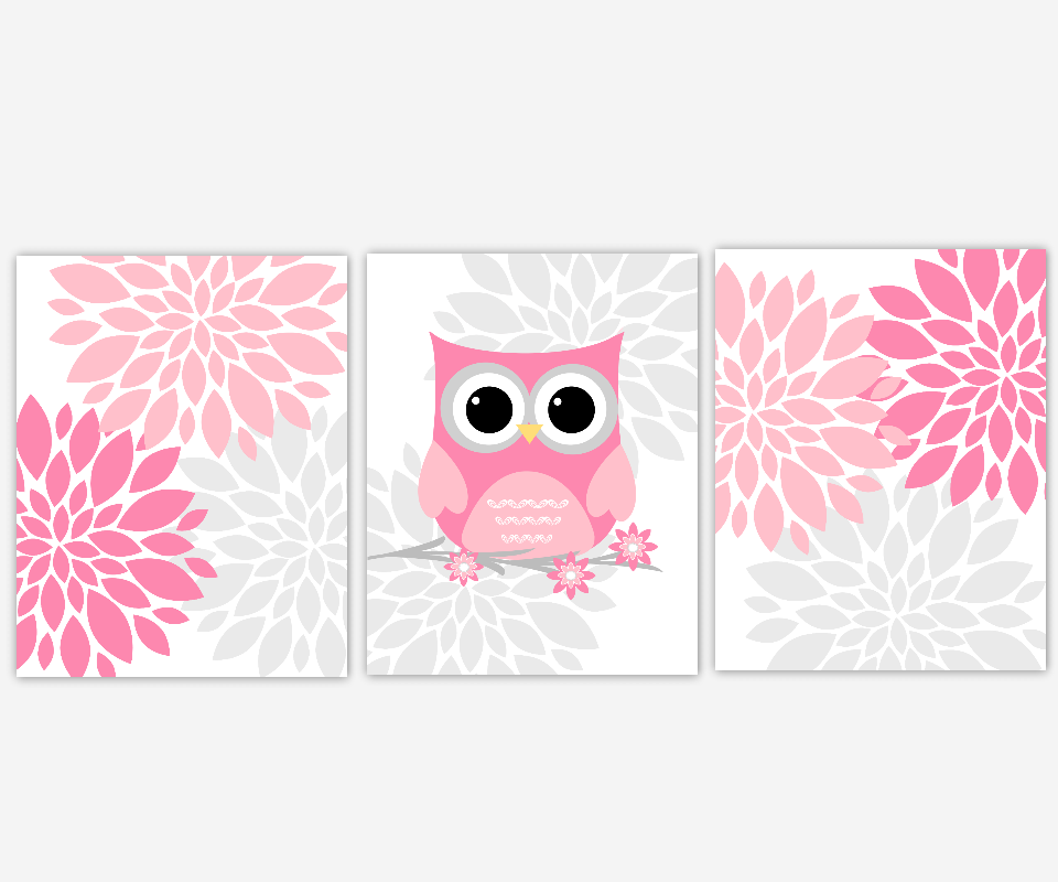 Baby S Canvas Nursery Wall Art Pink Gray Grey Owl Flower Burst Dahlia Mums Prints Decor