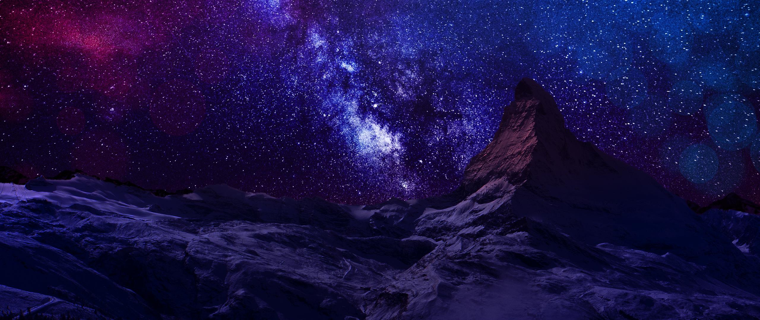 Dünya/Doğa - Gökyüzü Hill Snow Mavi Pink Dağ Gece Star Yıldızlar Mor  Duvarkağıdı - Pink Star PNG HD