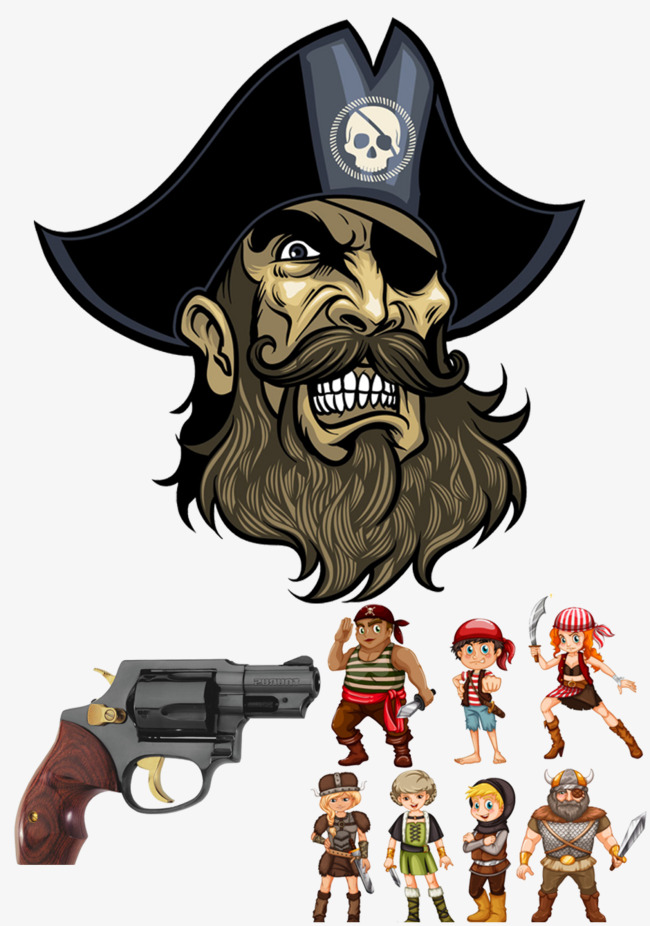 One eye pirate, Pistol, Skull, Pirate Grin PNG and PSD - Pirate Beard PNG