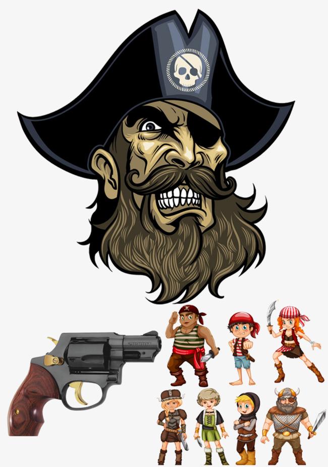 One eye pirate, Pistol, Skull