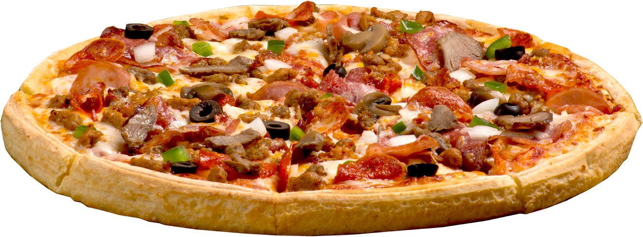. PlusPng.com Mozzarella The Works Pepperoni, Italian Sausage, Sausage, Beef,  Canadian Bacon, Steak, Bacon, Salami, Onions, Mushrooms, Green Peppers,  Black Olives, PlusPng.com  - Pizza PNG