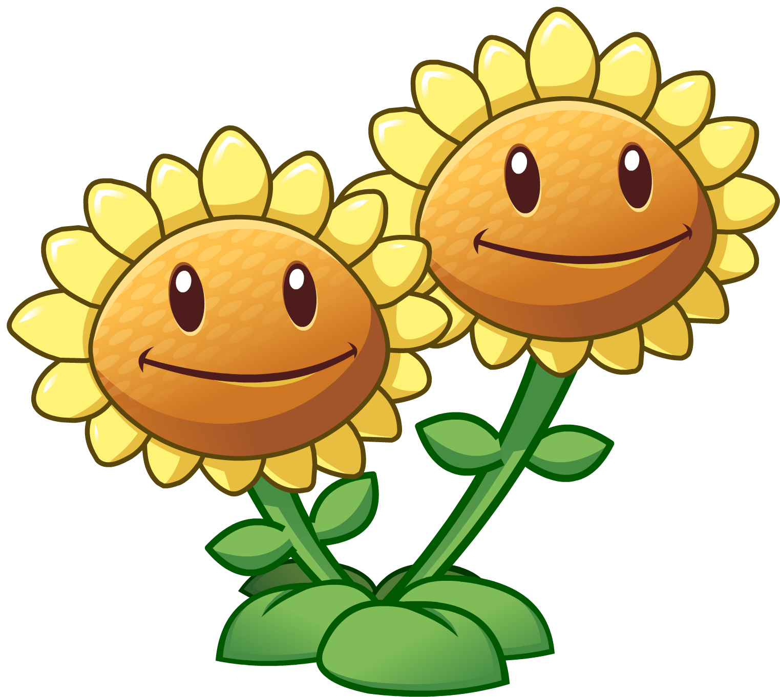 Twin Sunflower HD.png - Plants V Zombies HD PNG