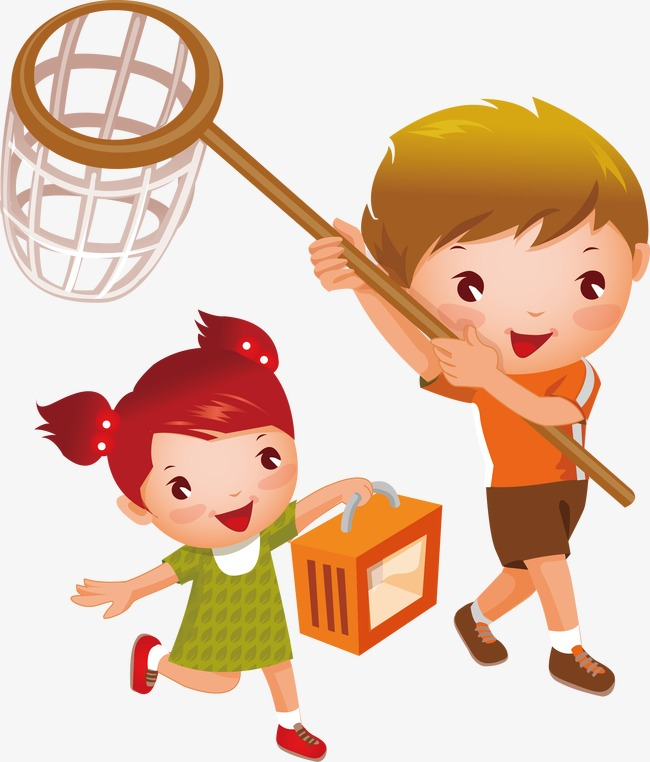 cartoon children playing vector, Catch Butterflies, Run, Cartoon Characters  PNG and Vector - Playing Catch PNG