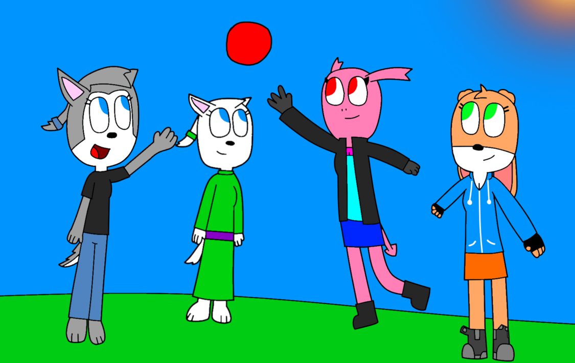 Cindy, Clara, Jade and Ruby Playing Catch by PrinceStickFigure PlusPng.com  - Playing Catch PNG