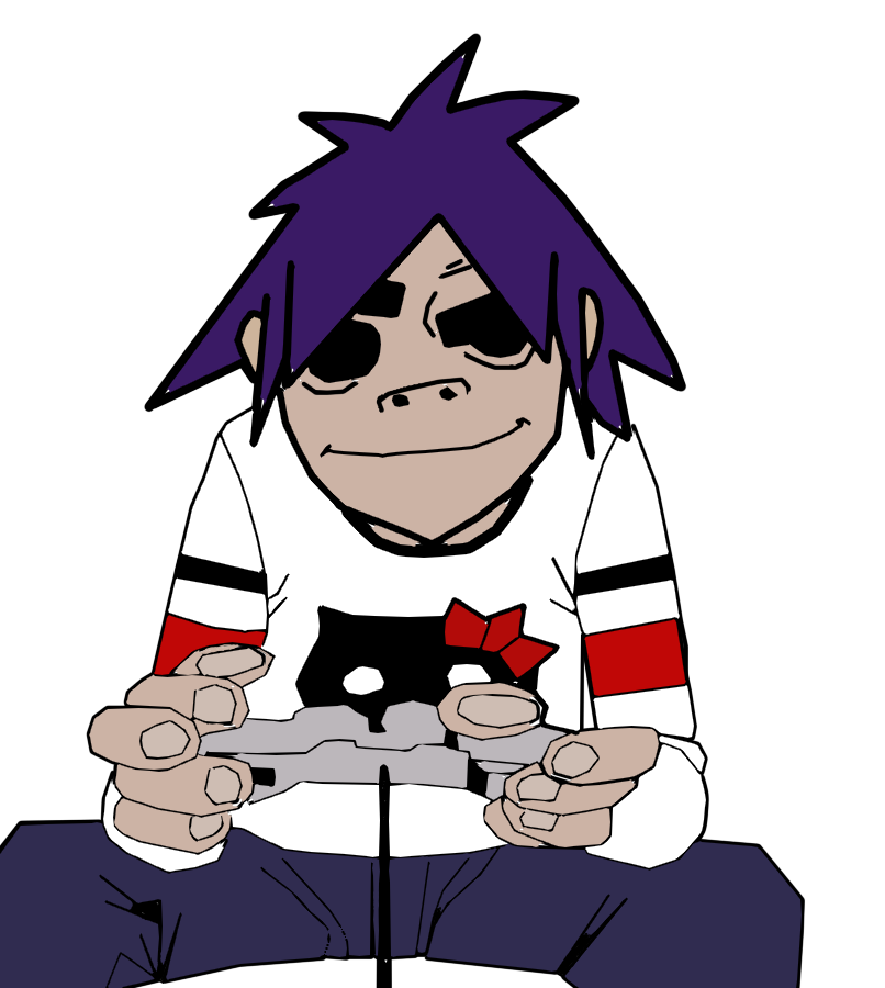 2D of Gorillaz Playing Video-