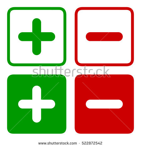 Plus and minus square icon set in green and red colors, vector illustration. - Plus And Minus PNG