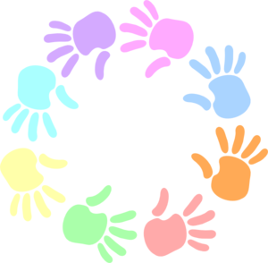 Colorful Circle Of Hands Clip Art - PNG Circle Of Hands