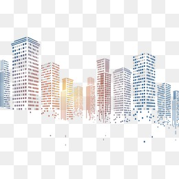 geometric squares particles pixelated city building - PNG City Buildings