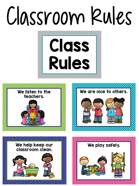 Pre-K Class Rules Posters in Bright Colors - PNG Classroom Rules