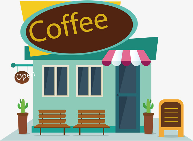 Vector map coffee shop, Cartoon Hand Painted, Card Coffee Shop, Watercolor  PNG and - PNG Coffee Shop