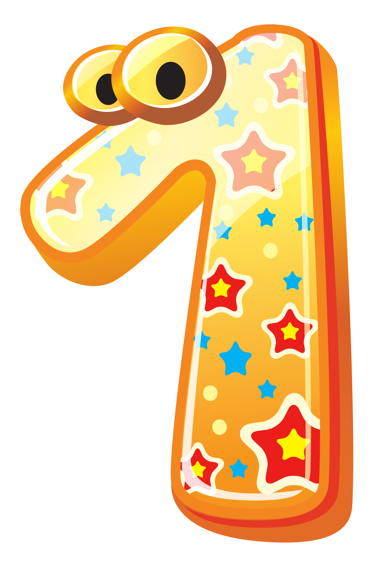 Number one with eyes and stars - PNG Counting