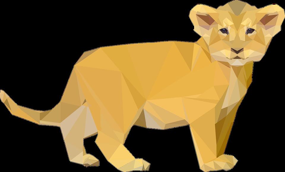 Afrika, Hayvan, Kedi, Cub, Aslan, Düşük Poli, Çokgen - PNG Cub