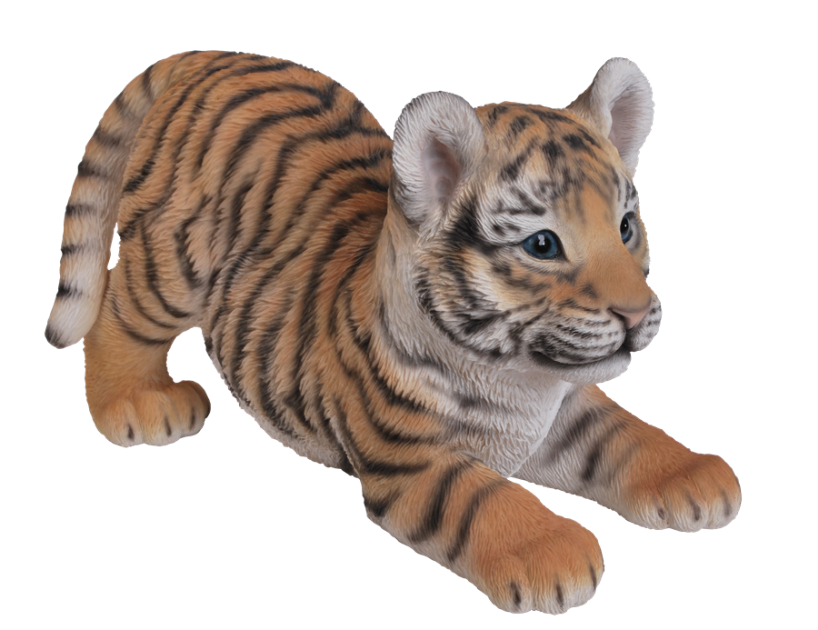 Image of Vivid Playful Tiger Cub - Resin Garden Ornament - PNG Cub