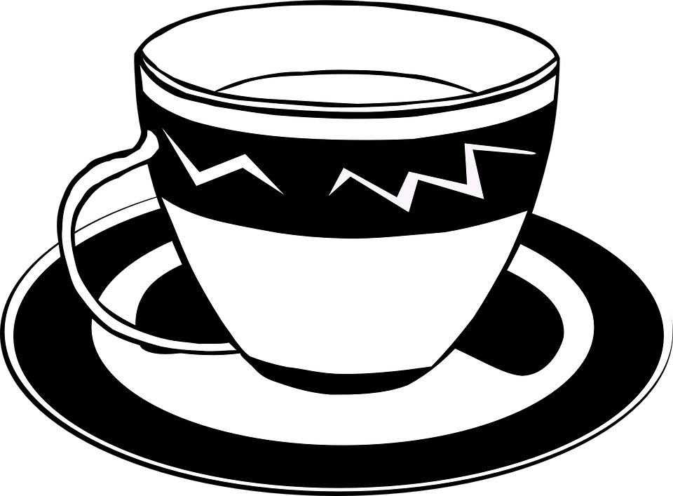 Tea, Cup, Saucer, Black And White, Teacup, Tea Set - PNG Cup Black And White