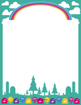 Cute Fuzzy Monsters page border - PNG Cute Borders