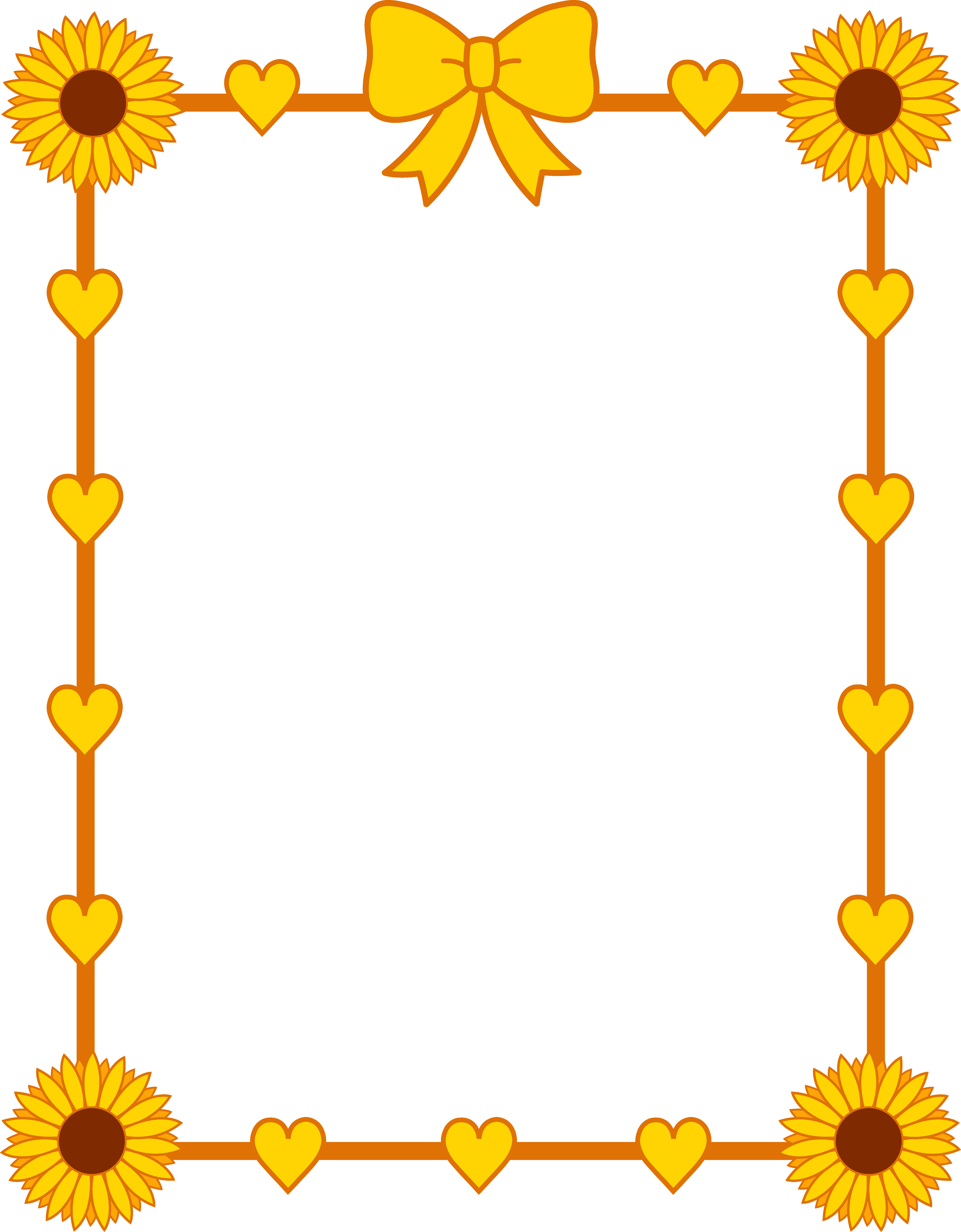 sunflower_yellow_hearts_frame_border.png (6671×8554) - PNG Cute Borders
