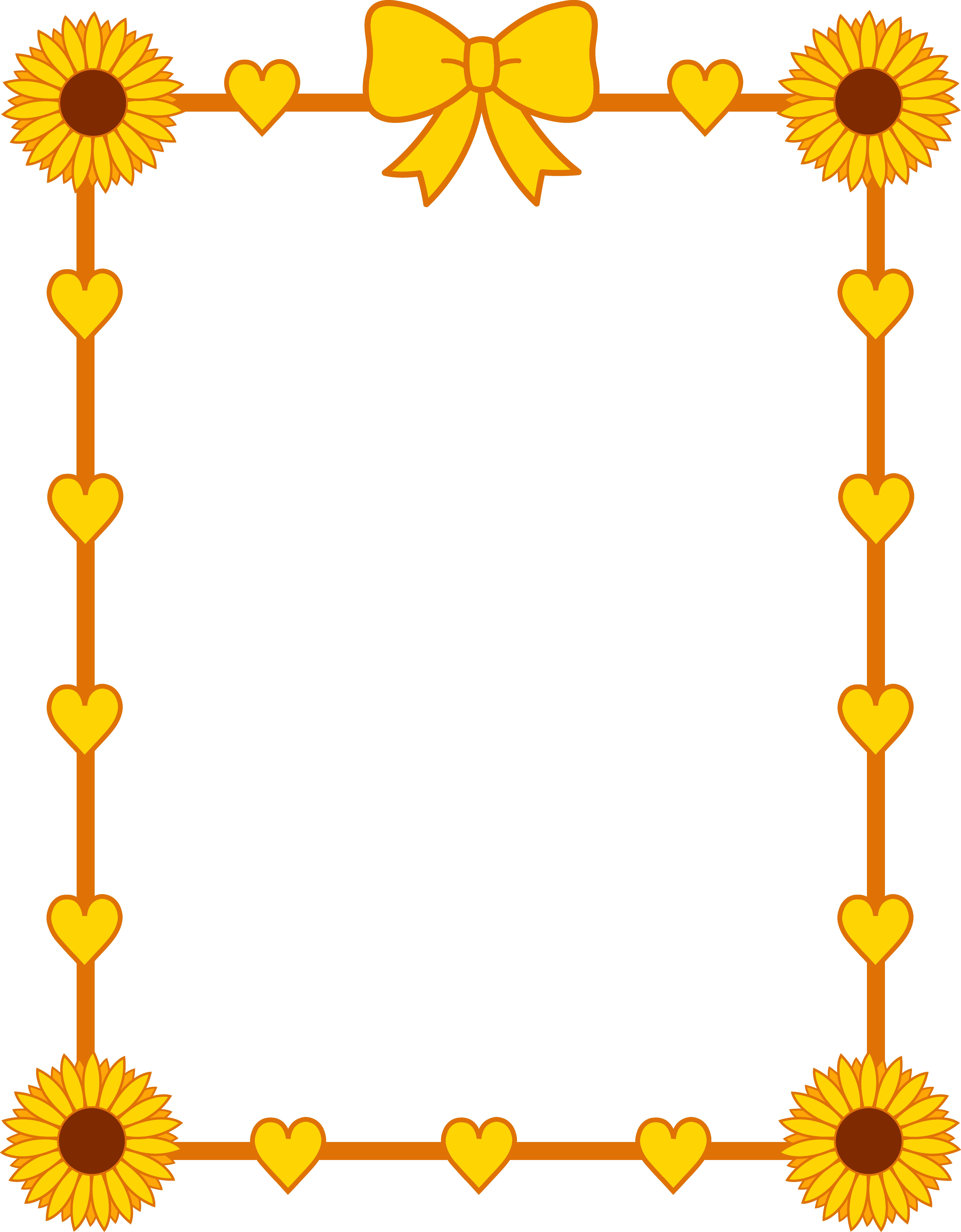 sunflower_yellow_hearts_frame