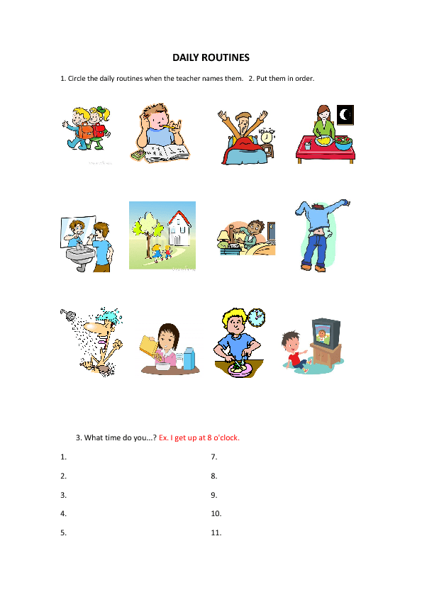Daily Routines Worksheet for Kids - PNG Daily Activities