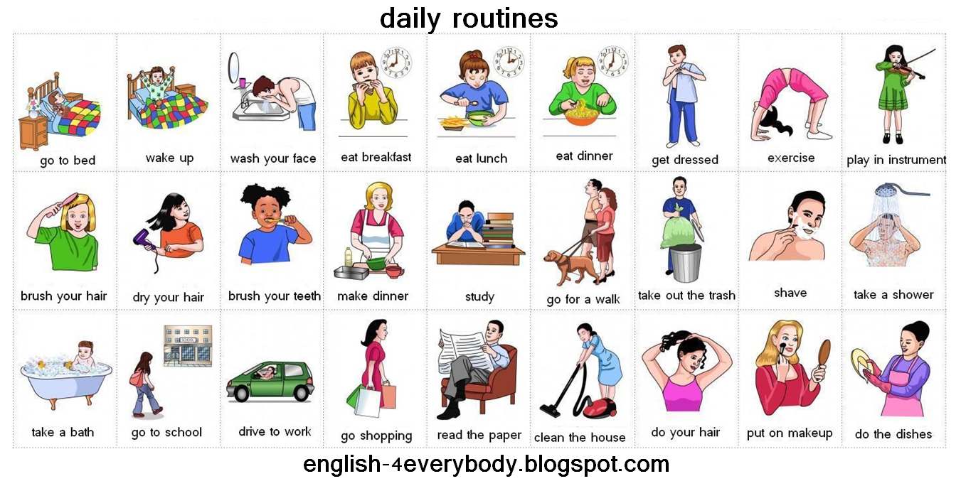 English for beginners: daily routines - PNG Daily Activities