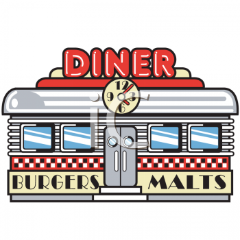 Clipart Picture of a Retro Diner - PNG Diner