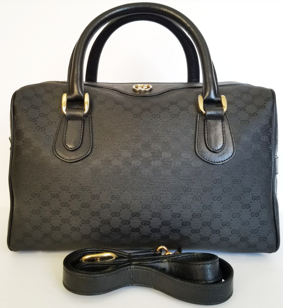next prev Image of Vtg. Gucci black mini monogram doctor bag - PNG Doctor Bag