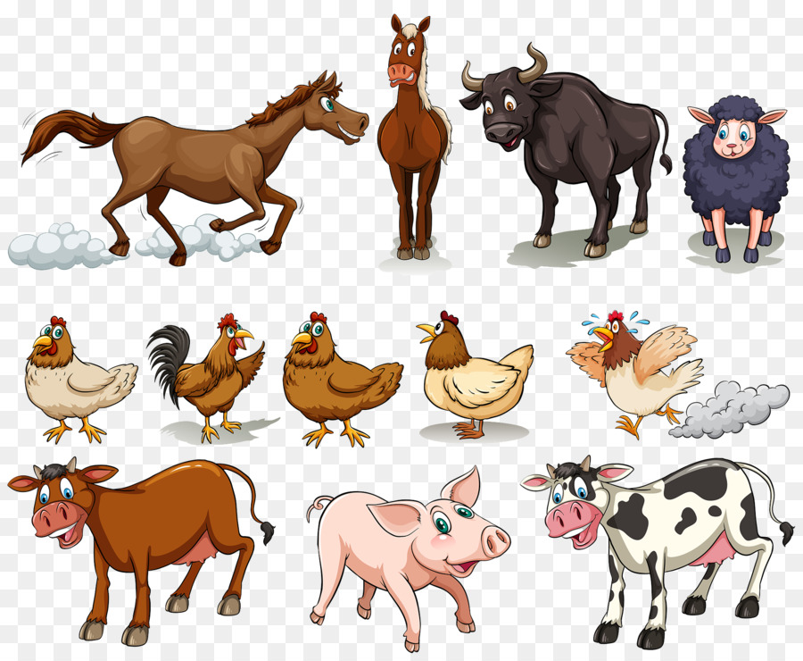 Cattle Chicken Sheep Domestic pig Horse - Farm animals - PNG Domestic Animals