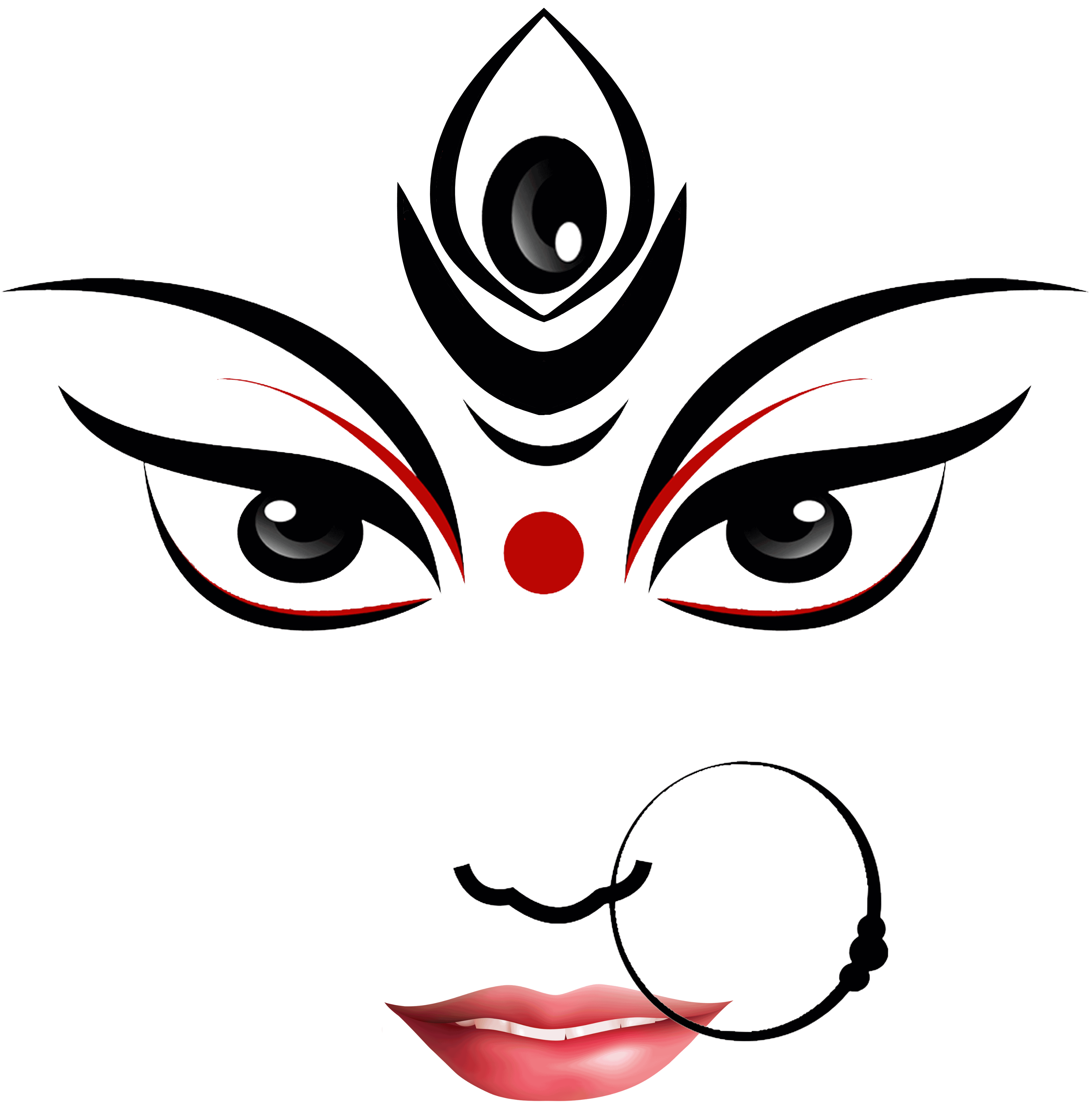Durga Maa Face - PNG Durga