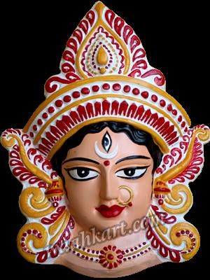 Vibrant look, divine durga mata face wall hanging - PNG Durga
