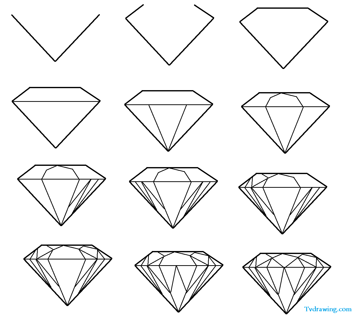 how to draw a diamond step by step
