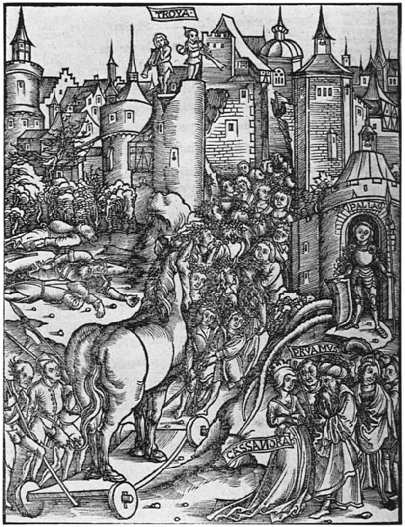 File:Einzug des trojanischen Pferdes, Holzschnitt aus Vergilii Opera,  Strassburg, Grüninger 1502 - PNG Einzug