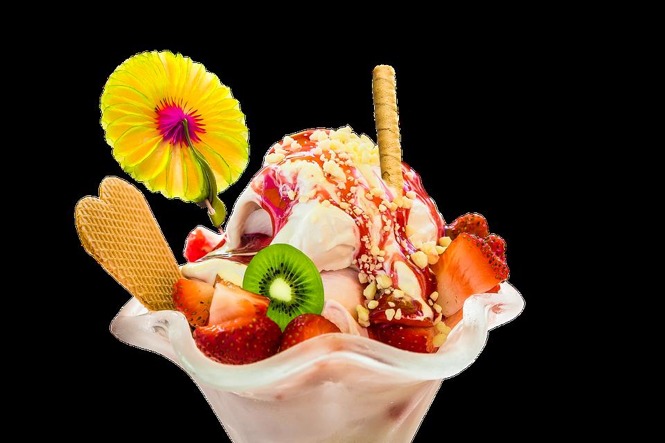 Essen, Eis, Eisbecher, Eiscreme, Kalt, Obst, Erdbeeren - PNG Eis Essen