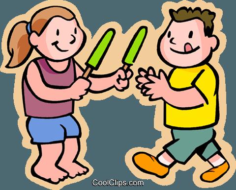 Kinder essen ein Eis am Stiel - PNG Eis Essen