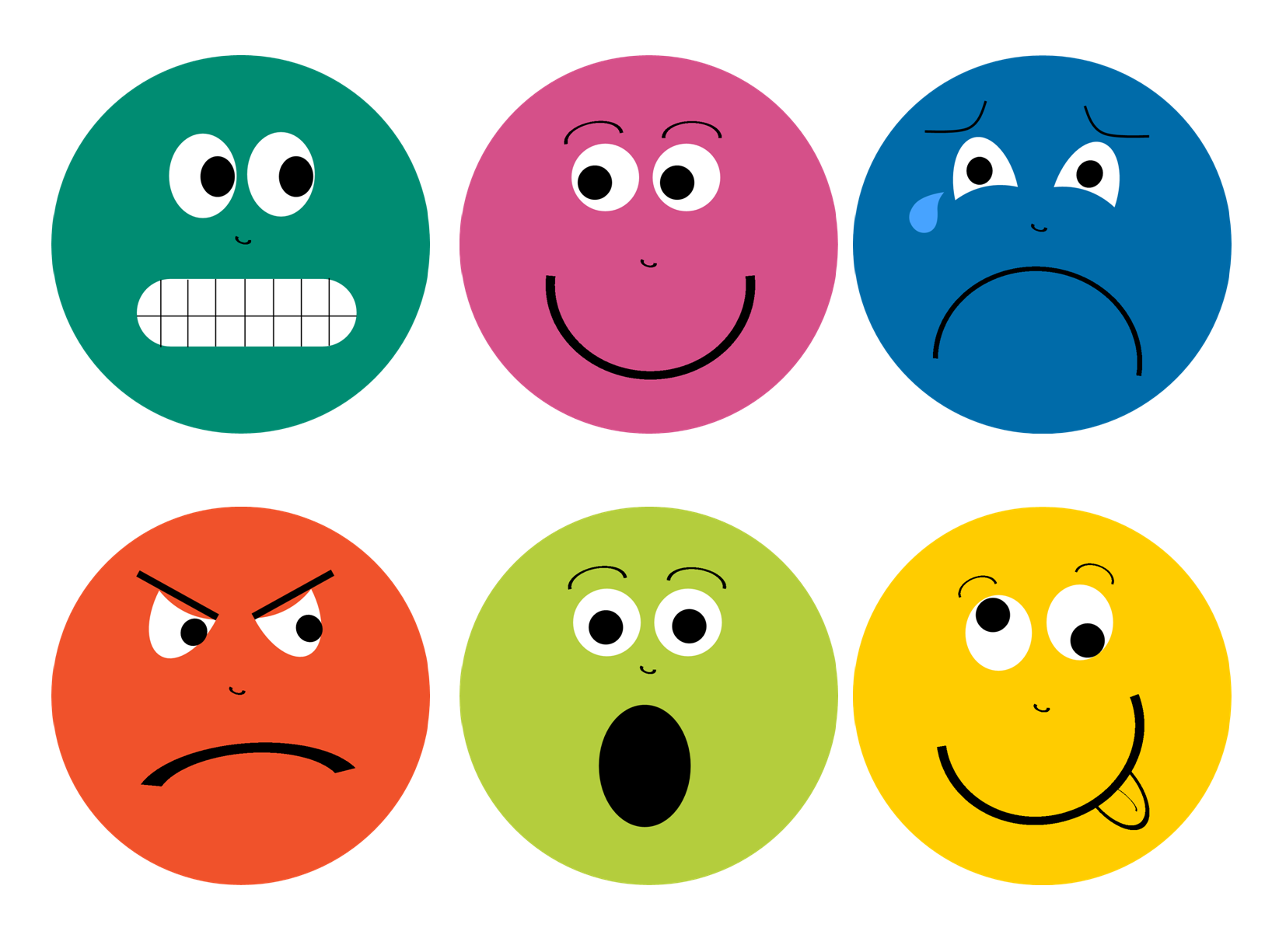 Feelings Faces Printable - PNG Emotions Faces