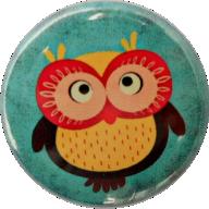 Button Eule blau rot gelb - PNG Eule Blau