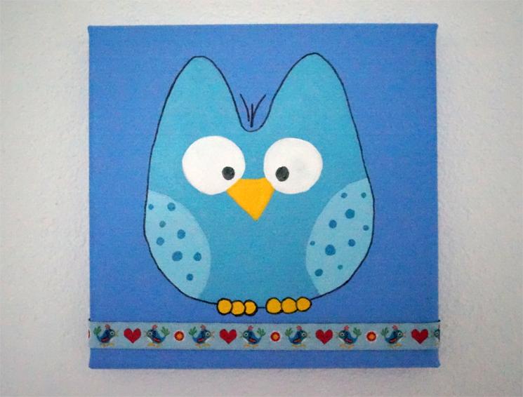 Eule blau (Leinwand) - PNG Eule Blau