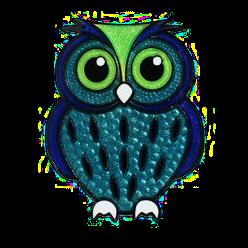 Eule, Micro-Geocoin, Blau-Grün - PNG Eule Blau