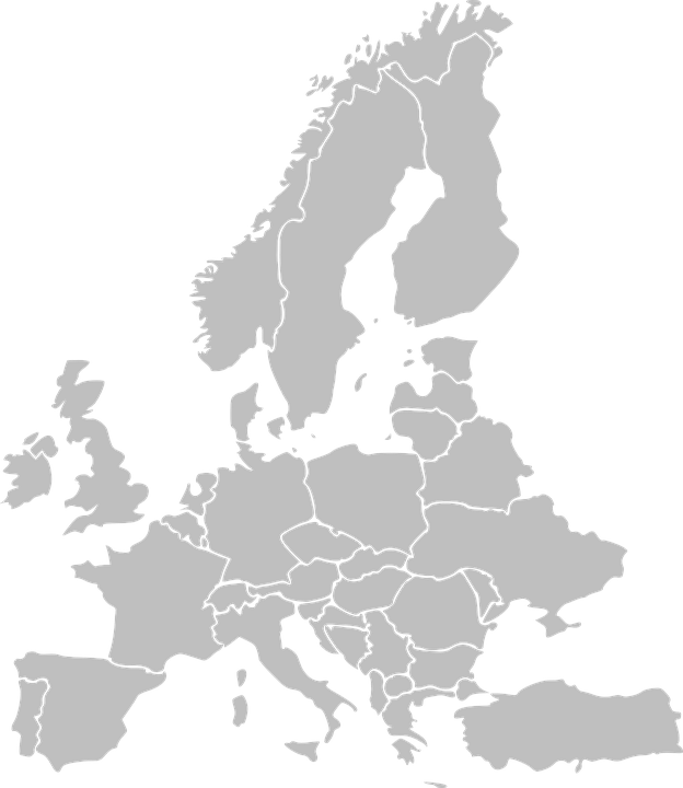 Europe, Map, Countries, States, Grey - PNG Europe Map