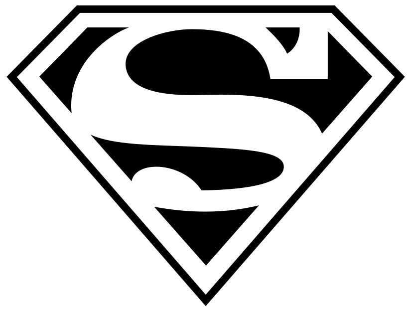 superman-logo-013. Superman S - Black and White The standard, famous  superman s logo in black and white. - PNG Fall Black And White