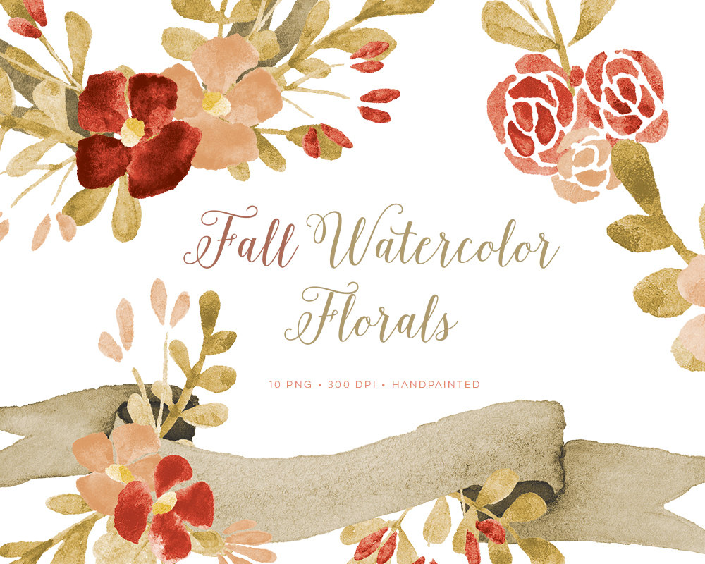 fall clipart, fall watercolor clipart, autumn clipart, fall wreath clipart, fall  flower clipart invitation fall clipart wedding fall clipart - PNG Fall Flowers