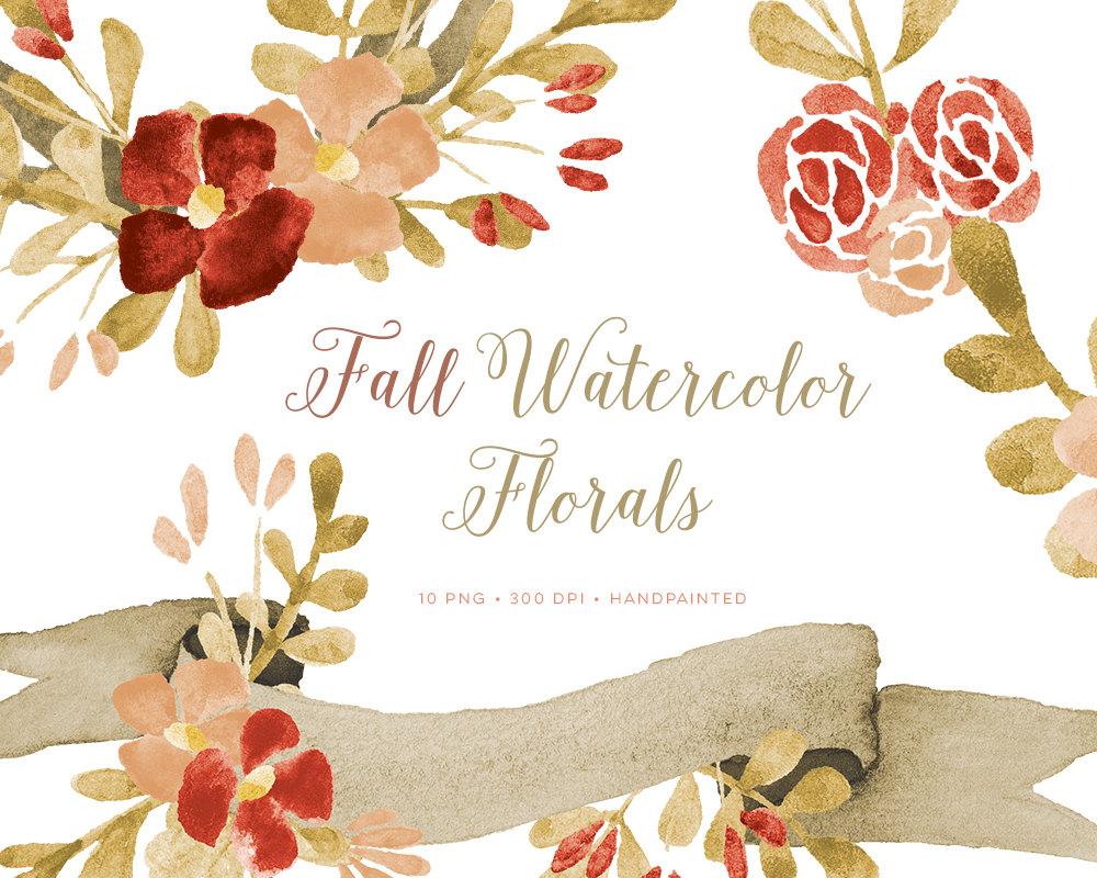 fall clipart, fall watercolor