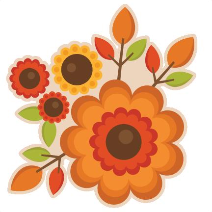 Fall Flowers Watercolor Clipa