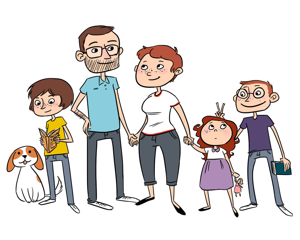 Family Cartoon Images - PNG Family Of 6