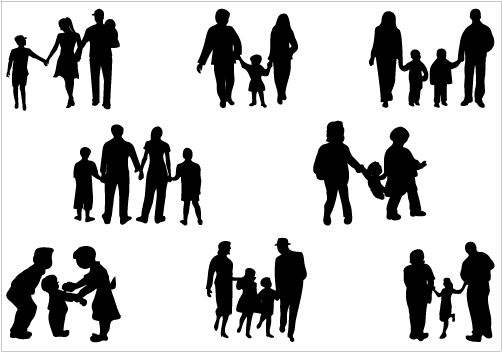 Family Silhouette Cliparts #2631628 - PNG Family Of 6