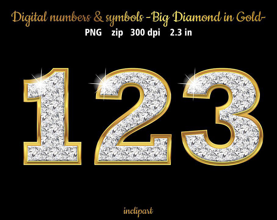 gold with diamond numbers fon