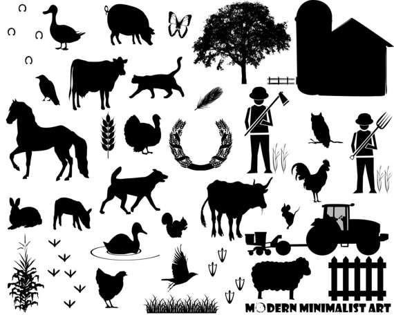 PNG Farm Animals Black And White - 146590