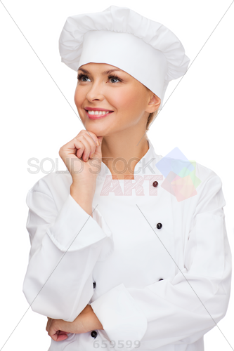 Stock Photo of Cooking and food concept smiling female chef cook or baker  dreaming - PNG Female Chef