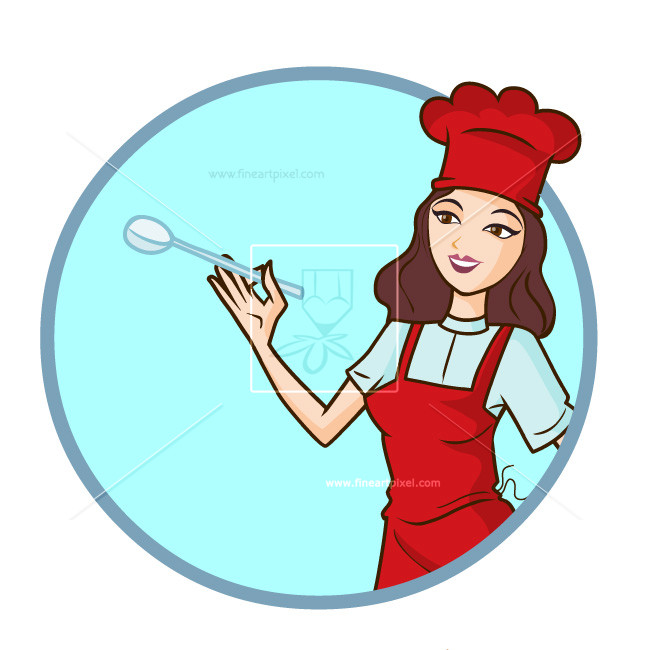 Woman chef illustration logo style - PNG Female Chef