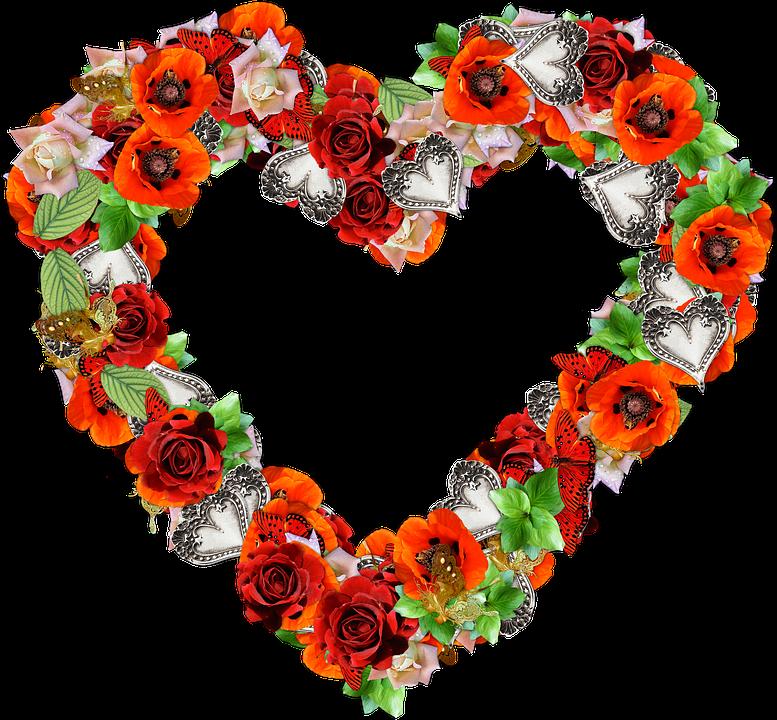 cuore fiori png amore san valentino rosso - PNG Fiori Gratis