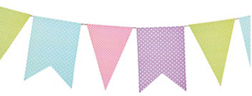 paper bunting,pennant flag,paper garland,birthday decorations,polka  dot,decorations - PNG Flag Banner